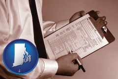 rhode-island map icon and a tax consultant holding an IRS form 1040