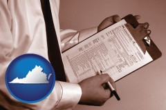 virginia map icon and a tax consultant holding an IRS form 1040